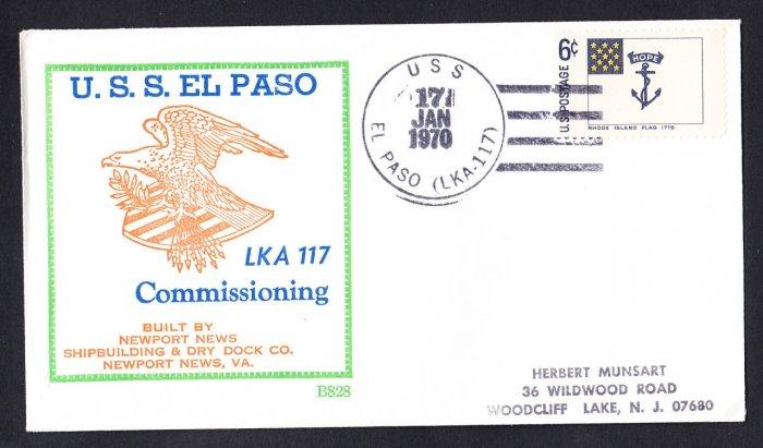 Amphibious Cargo Ship USS EL PASO LKA-116 Commissioning BECK #B828 Naval Cover