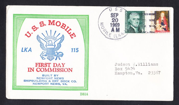Amphibious Cargo Ship USS MOBILE LKA-115 Commissioning BECK #B814 Naval Cover