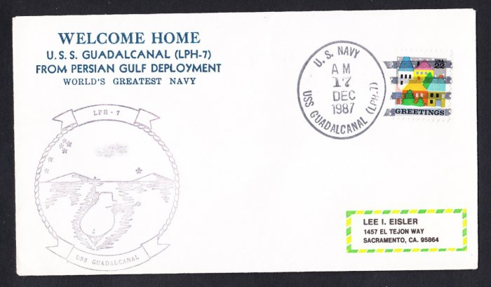 USS GUADALCANAL LPH-7 Persian Gulf Deployment Naval Cover