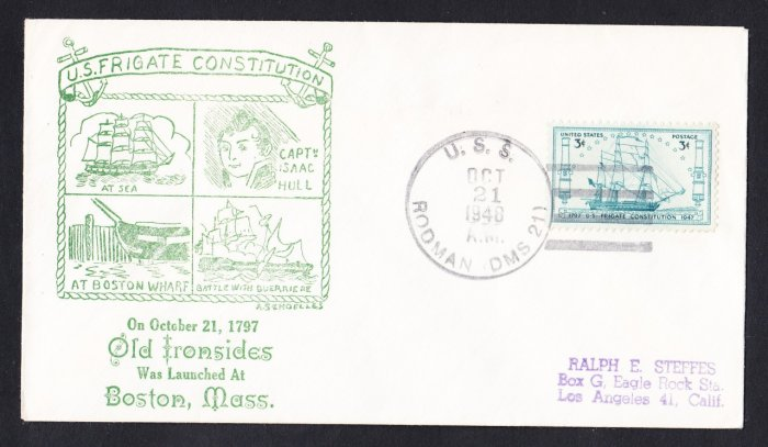 USS CONSTITUTION Anniversary 1948 Naval Cover