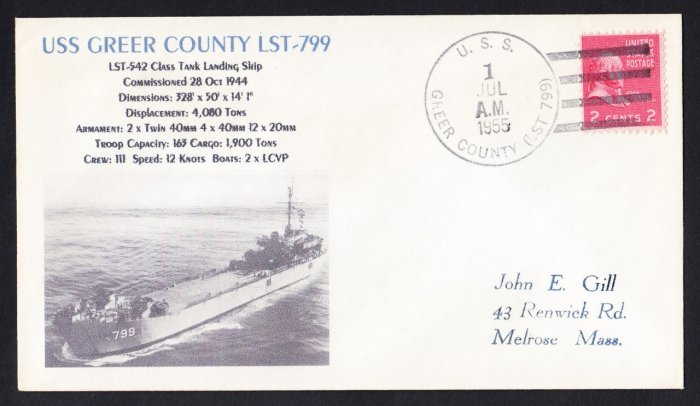 USS GREER COUNTY LST-799 Naval Cover MHcachets ONLY 1 MADE