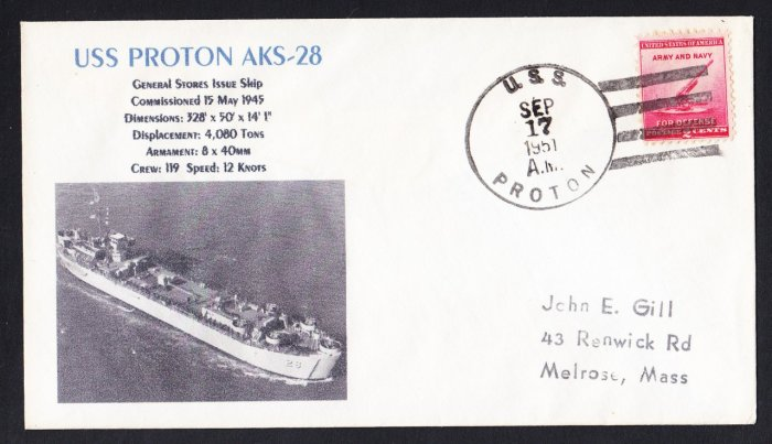 USS PROTON AKS-28 Naval Cover MHcachets ONLY 1 MADE