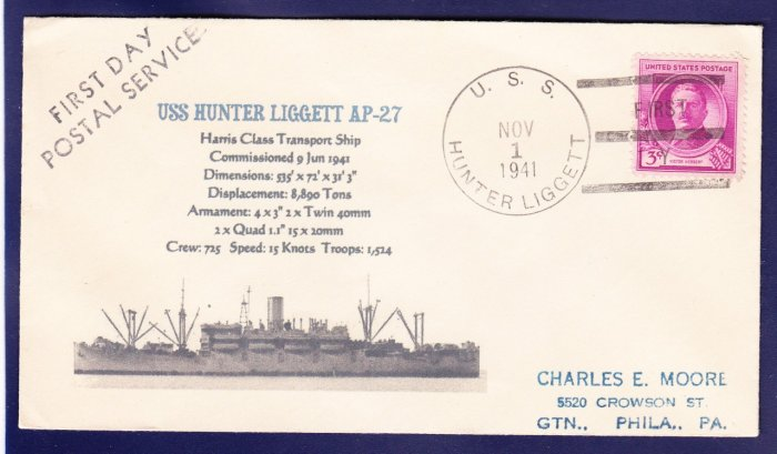 USS HUNTER LIGGETT AP-27 FDPS 1941 Naval Cover MHcachets ONLTY 1 MADE