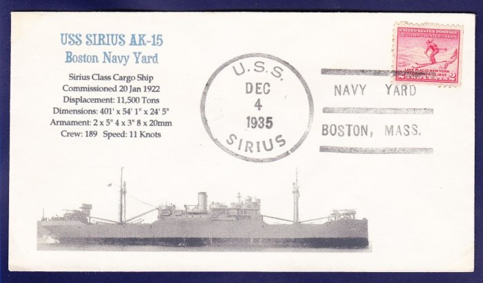 USS SIRIUS AK-15 Fancy Cancel 1935 Naval Cover MHcachets ONLY 1 MADE