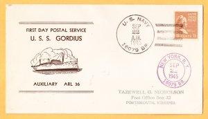USS GORDIIUS ARL-36 FDPS BR# Cancel 1945 Naval Cover