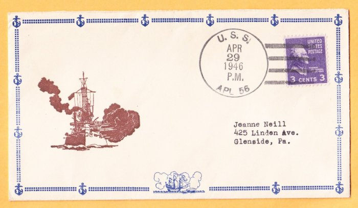 USS APL-56 1956 Naval Cover