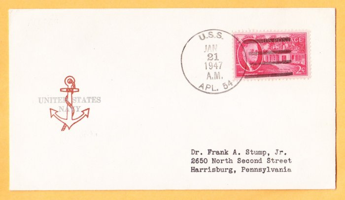 USS APL-54 1947 Naval Cover