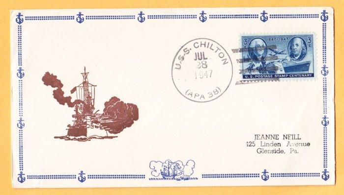 USS CHILTON APA-38 1947 Naval Cover