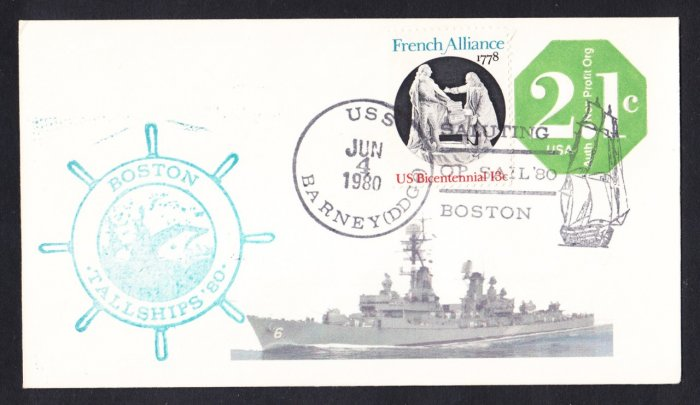 USS BARNEY DDG-9 OPSAIL Boston Naval Cover MHcachets ONLY 1 MADE