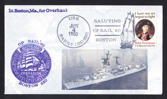USS BARRY DD-933 OPSAIL BOSTON Naval Cover MHcachets ONLY 1 MADE