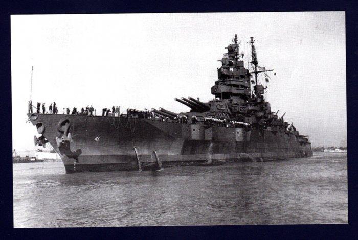 USS MISSISSIPPI BB-41 Battleship Navy Ship Postcard