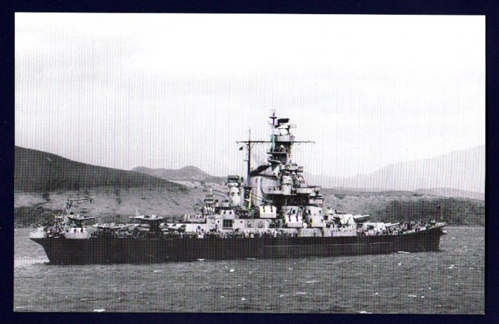 USS INDIANA BB-58 Battleship Navy Ship Postcard