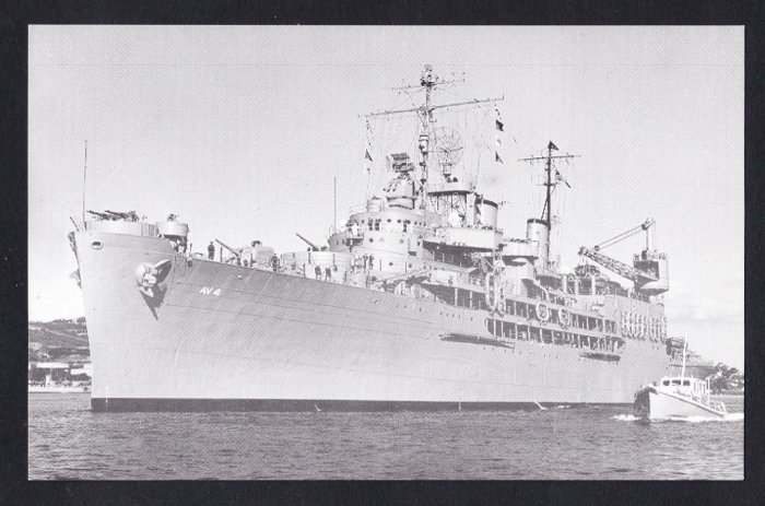 USS CURTISS AV-4 Seaplane Tender Navy Ship Postcard
