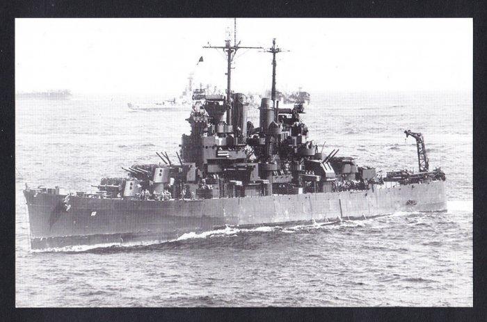 USS SANTE FE CL-60 Cruiser Navy Ship Postcard