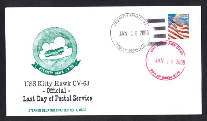 USS KITTY HAWK CV-63 LDPS Naval Cover