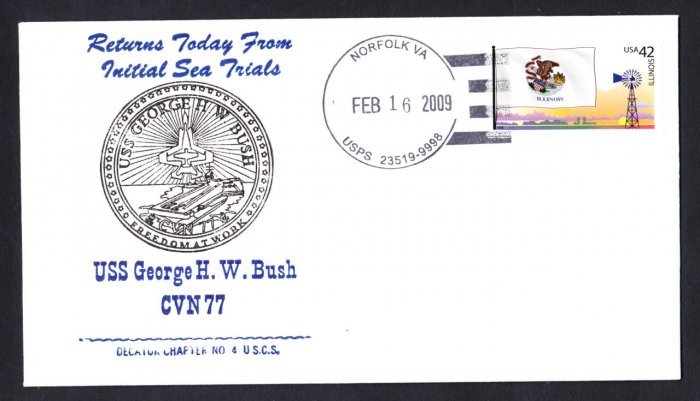 USS GEORGE H. W. BUSH CVN-77 Sea Trials Naval Cover