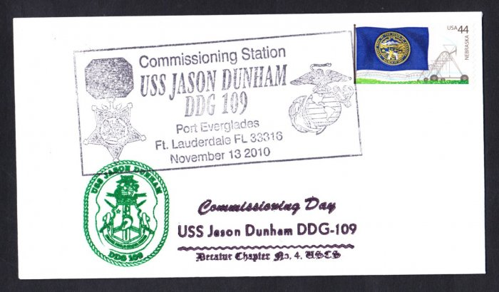 USS JASON DUNHAM DDG-109 Commissioning Naval Cover