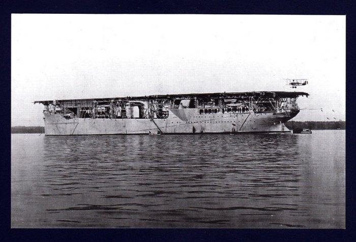 USS LANGLEY CV-1 Aircarft Carrier Navy Ship Postcard