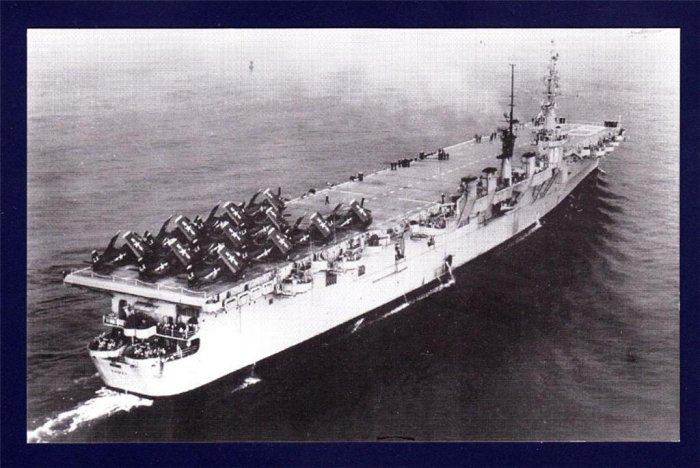 USS SAIPAN CVL-48 Aircraft Carrier Navy Ship Postcard