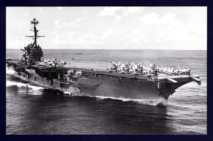 USS RANGER CVA-61 Aircraft Carrier Navy Ship Postcard