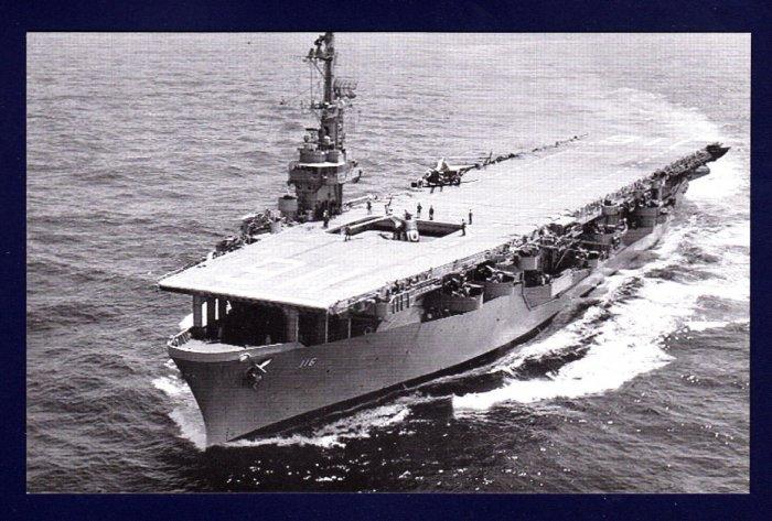 USS BADOENG STRAIT CVE-116 Escort Carrier Navy Ship Postcard