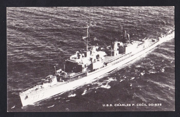 USS CHARLES P. CECIL DD-835 Destroyer Navy Ship Postcard