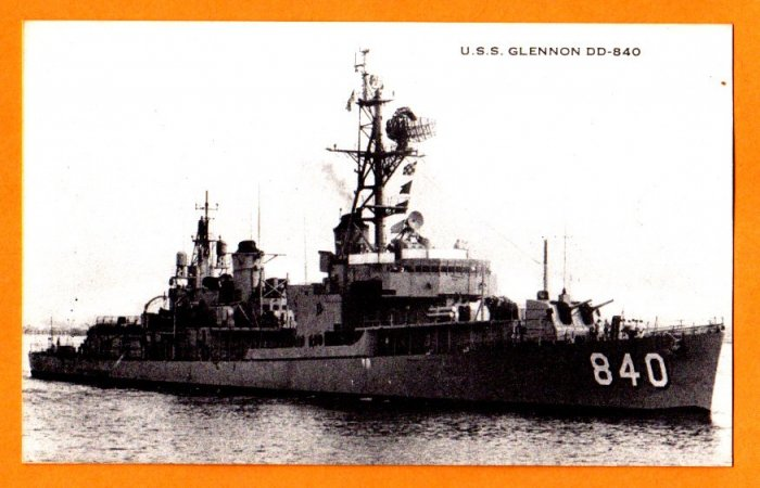 USS GLENNON DD-840 Destroyer Navy Ship Postcard