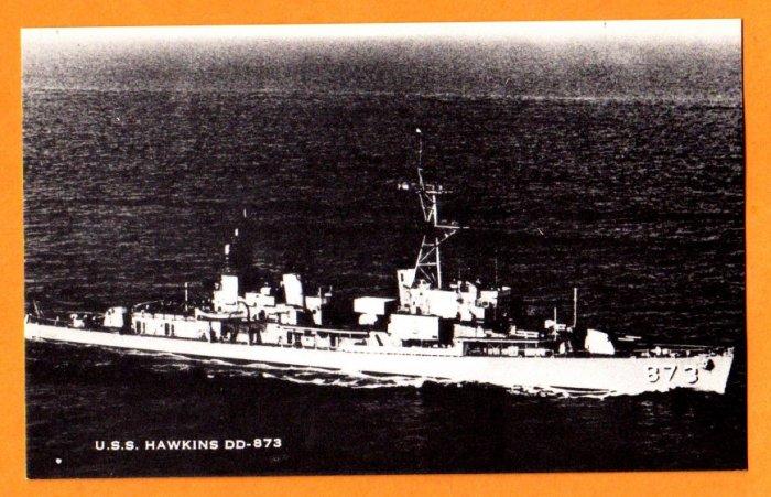 USS HAWKINS DD-873 Destroyer Navy Ship Postcard