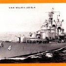 USS WILLIS A. LEE DL-4 Destroyer Leader Navy Ship Postcard