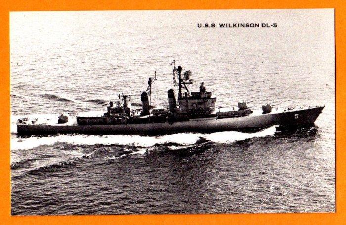 USS WILKINSON DL-5 Destroyer Leader Navy Ship Postcard