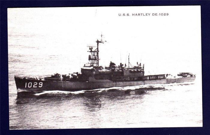 USS HARTLEY DE-1029 Destroyer Escort Navy Ship Postcard