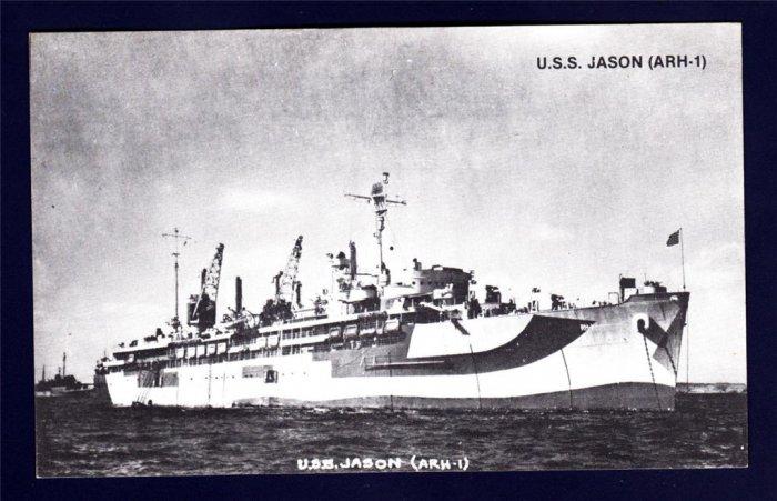 USS JASON ARH-1 Repair Ship Navy Ship Postcard