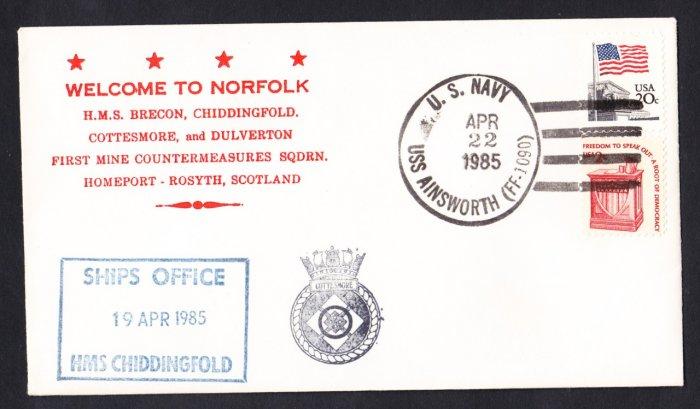 HMS CHIDDINGFOLD M-37 Visit to Norfolk Royal Navy Ship Cover
