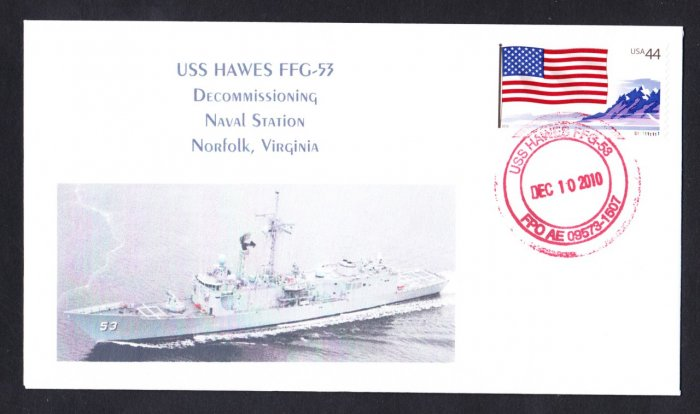 USS HAWES FFG-53 Decommissioning Naval Cover MHcachets ONLY 8 MADE