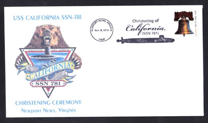 USS CALIFORNIA SSN-781 Christening Naval Submarine Cover MHcachets ONLY 8 MADE