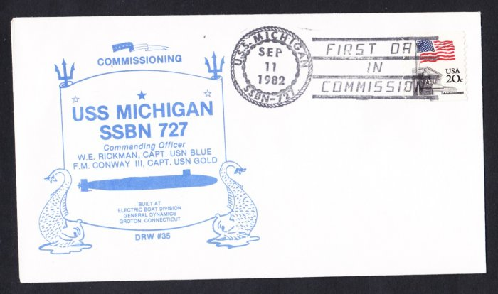USS MICHIGAN SSBN-727 Commissioning Naval Submarine Cover