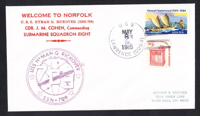 USS HYMAN G. RICKOVER SSN-709 Welcome To Norfolk Naval Submarine Cover