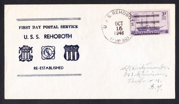 USS REHOBOTH AVP-50 FDPS 1948 Naval Cover