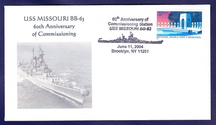 USS MISSOURI BB-63 Anniversary of Commissioning Naval Cover MHcachets ONLY 6 MADE