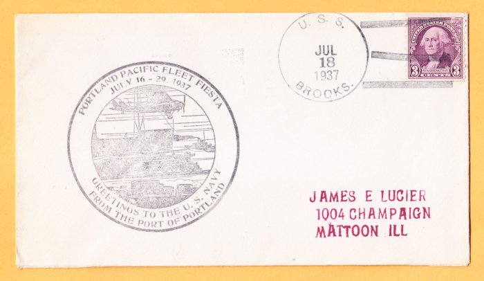 USS BROOKS DD-232 Portland OR 1937 Naval Cover