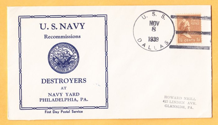 USS DALLAS DD-199 Recommissioning 1939 Naval Cover