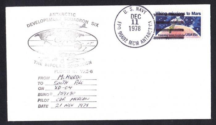 Antarctica Polar Flight Cover US NAVY VXE-6 McMurdo Station 1978