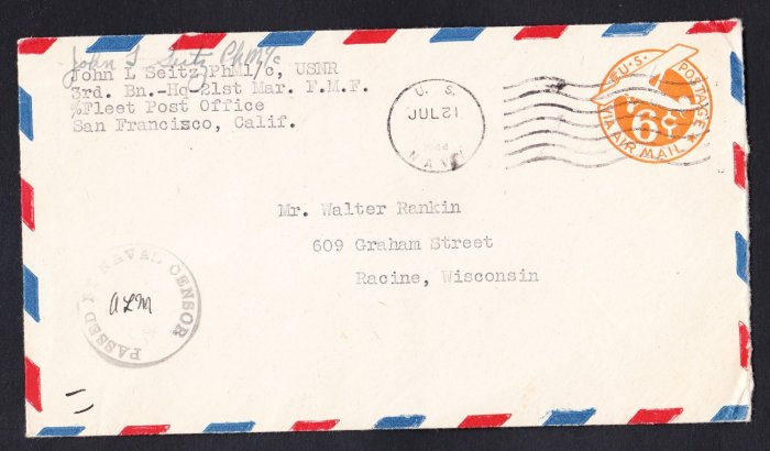 WWII SOLDIER'S MAIL US MARINE CORPS 21st Marines 1944 Naval Censor Cover