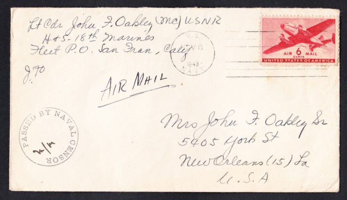 WWII SOLDIER'S MAIL 18th Marines 1943 Naval Censor Cover