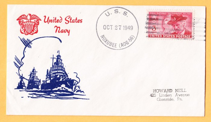 USS NOXUBEE AOG-56 Fancy Cancel 1949 Naval Cover