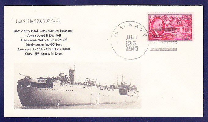 USS HAMMONDSPORT AKV-2 1945 Naval Cover MHcachets ONLY 1 MADE