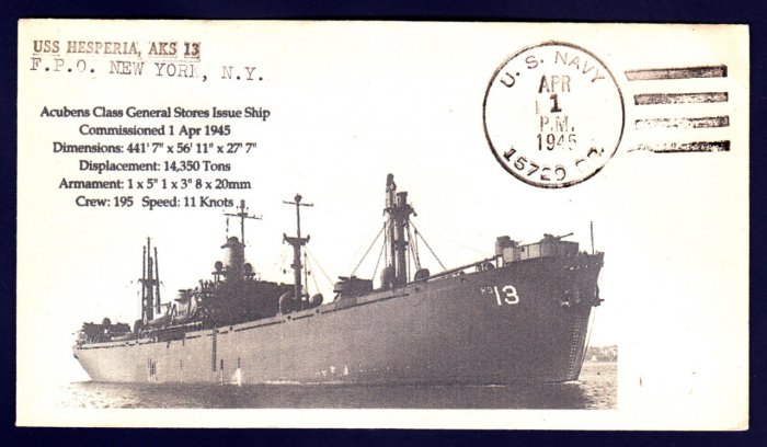USS HESPERIA AKS-13 WWII BR# Cancel 1945 Naval Cover MHcachets ONLY 1 MADE