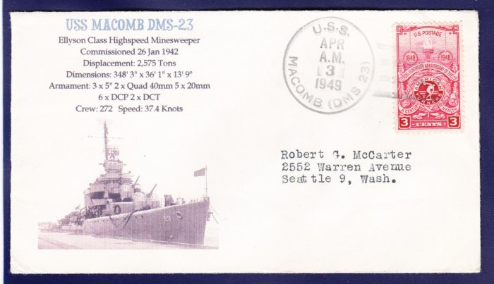USS MACOMB DMS-23 1949 Naval Cover MHcachets ONLY 1 MADE