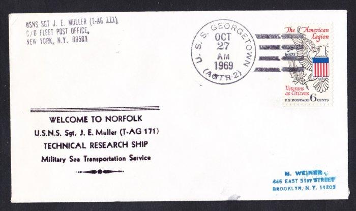 USNS SGT. J.E. MULLER T-AG-171 Norfolk VA Naval Cover