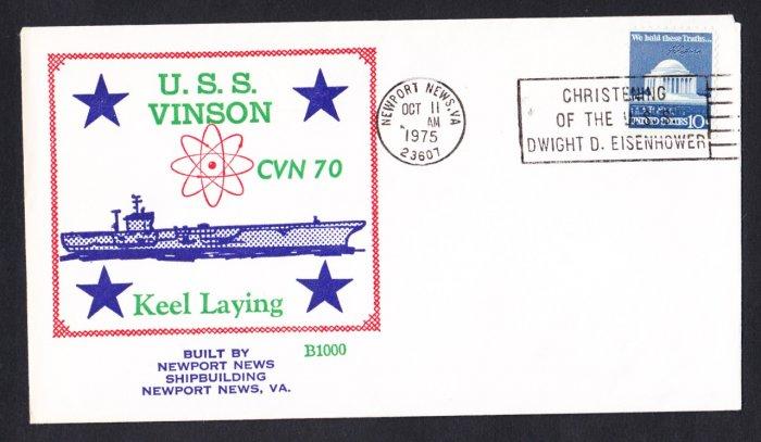 Aircraft Carrier USS CARL VINSON CVN-70 Keel Laying BECK #B1000 Naval Cover